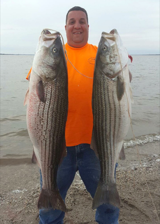 BAC Local 1 PA/DE member Thomas Formisano caught two 43-inch and 37-inch stripers in Salem, New Jersey.