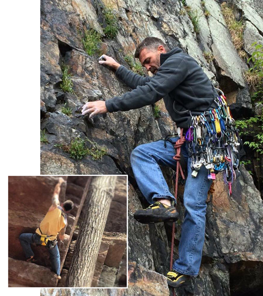 John Tedrick, a PCC journeyperson of Local 1 PA/DE, loves working on scaffolds. In his spare time, his passion turns to rock climbing which he attacks with the same precision.