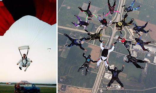 BAC Local 21 Illinois bricklayer Robert Gurskis, a.k.a. Bob G, has been a BAC member for 40 years and a skydiver for 32. Pictured, Brother Gurskis in his landing and a formation of 15 skydivers with him in the white jumpsuit.